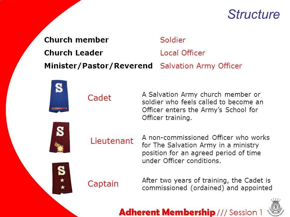 Structure Adherent Membership /// Session 1 Cadet Lieutenant Captain