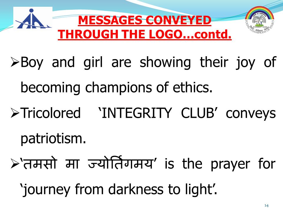 MESSAGES CONVEYED THROUGH THE LOGO…contd.