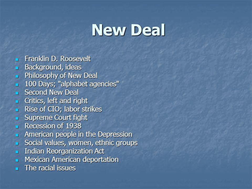 New Deal Franklin D. Roosevelt Background, ideas