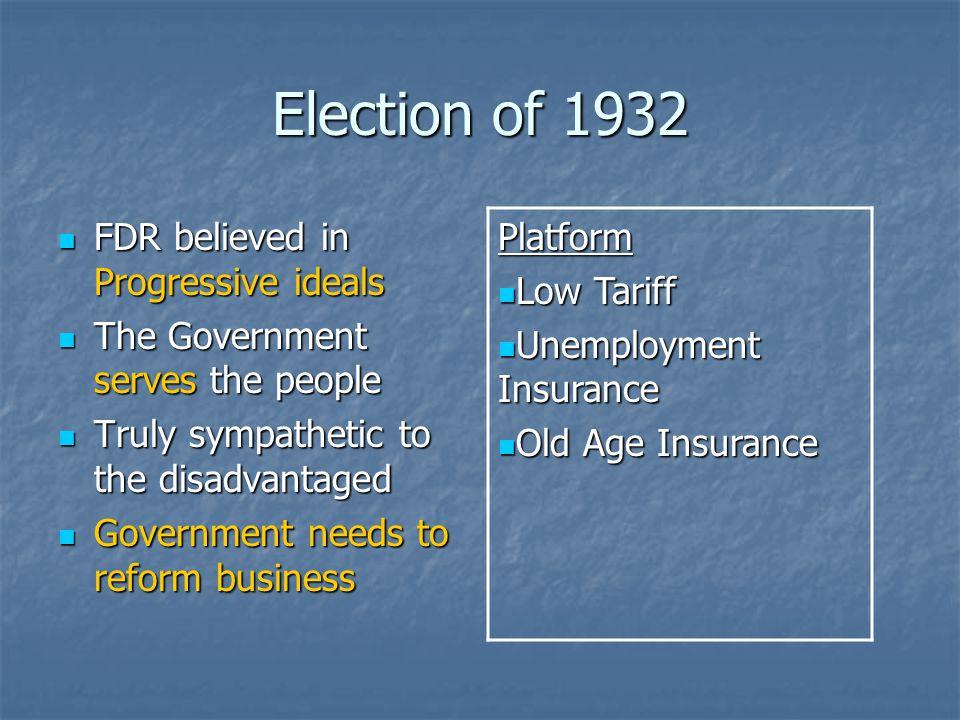 Election of 1932 Platform Low Tariff Unemployment Insurance