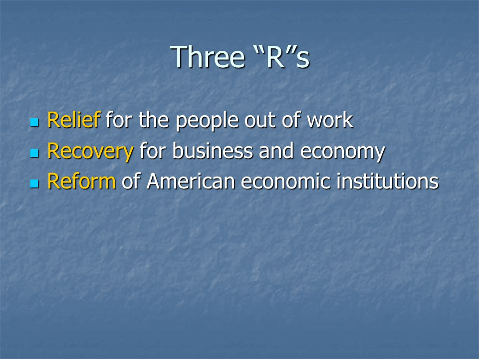 Three R s Relief for the people out of work