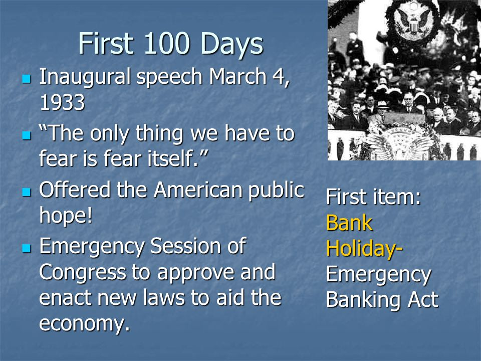 First 100 Days Inaugural speech March 4, 1933