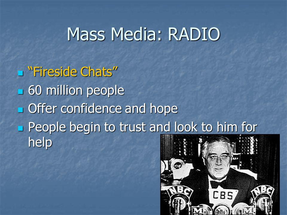 Mass Media: RADIO Fireside Chats 60 million people