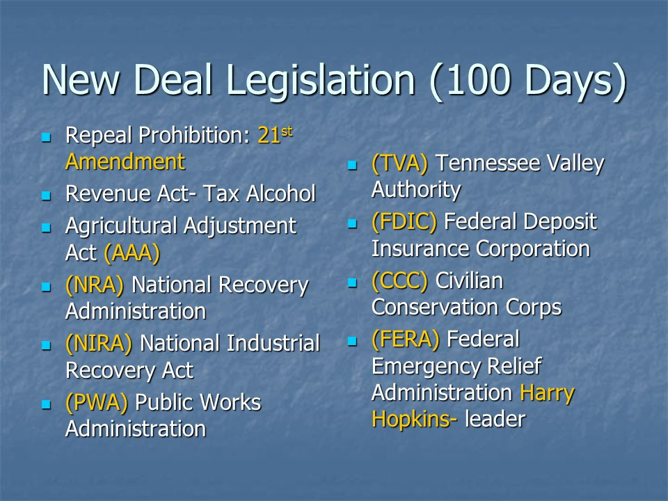 New Deal Legislation (100 Days)