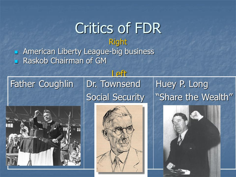Critics of FDR Left Father Coughlin Dr. Townsend Social Security