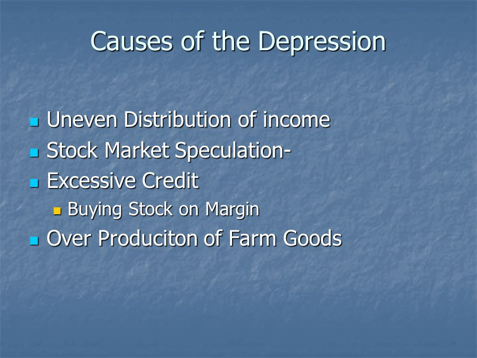 Causes of the Depression