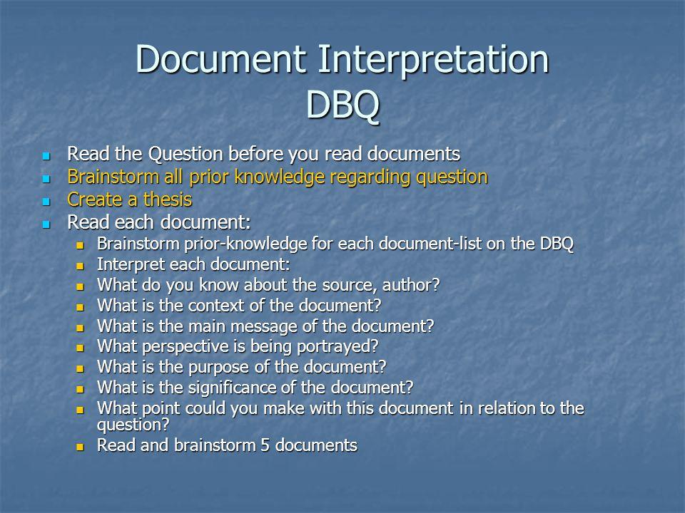 Document Interpretation DBQ