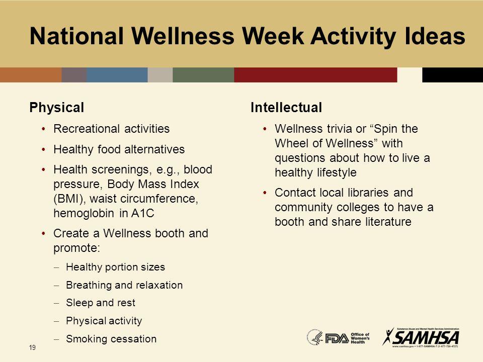National Wellness Week Activity Ideas