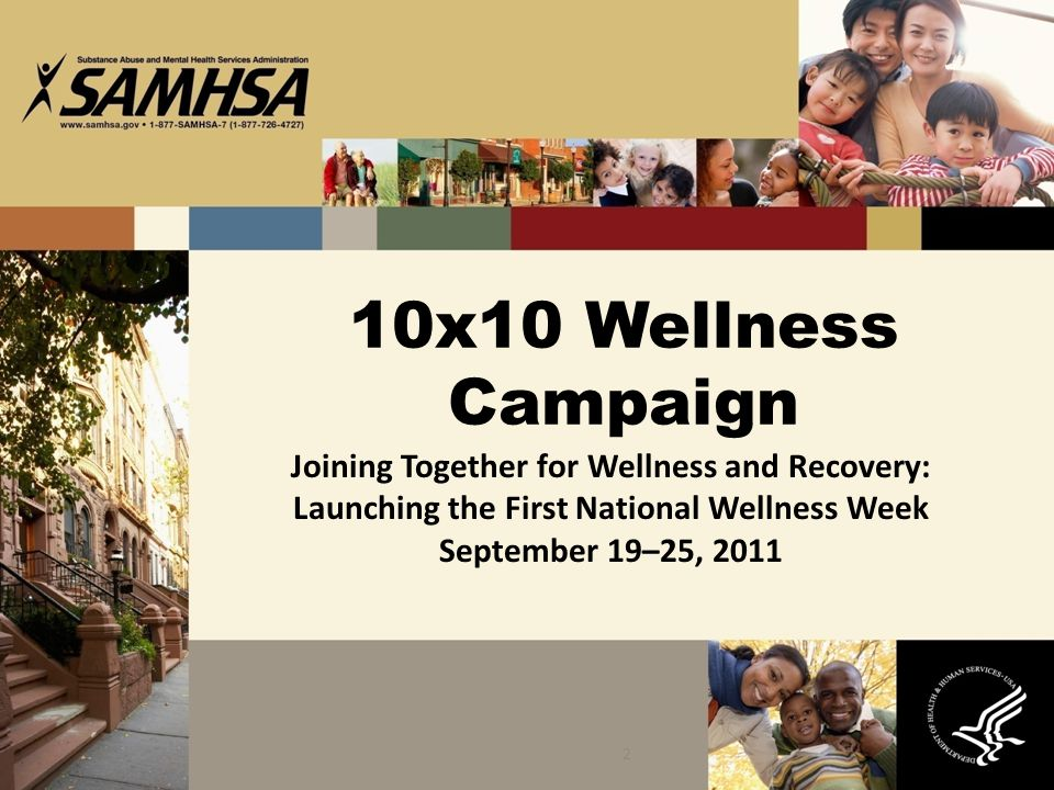 10x10 Wellness Campaign Joining Together for Wellness and Recovery: Launching the First National Wellness Week September 19–25, 2011.