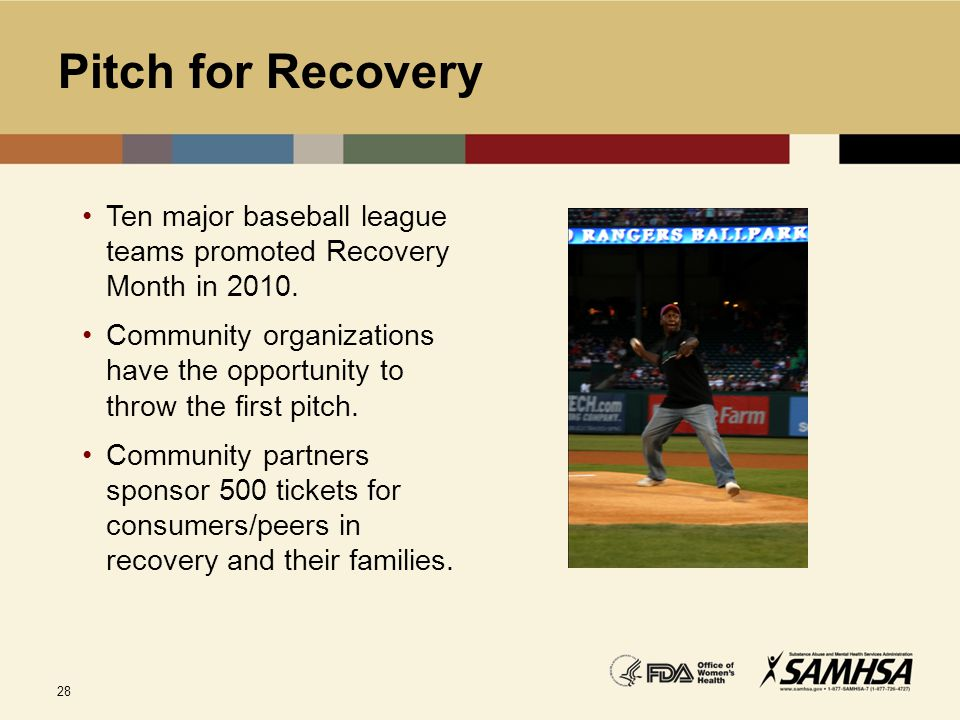 Pitch for Recovery Ten major baseball league teams promoted Recovery Month in 2010.