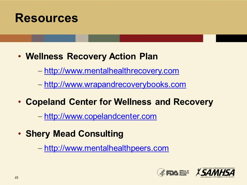 Resources Wellness Recovery Action Plan