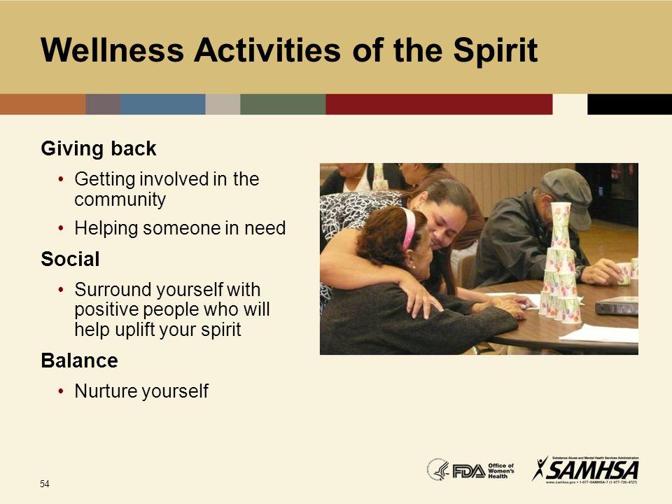Wellness Activities of the Spirit