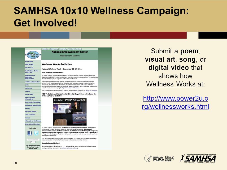 SAMHSA 10x10 Wellness Campaign: Get Involved!