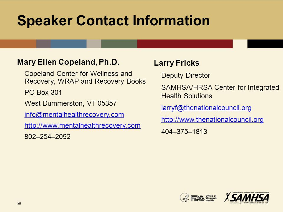 Speaker Contact Information Mary Ellen Copeland, Ph.D. Copeland Center for Wellness and Recovery, WRAP and Recovery Books.