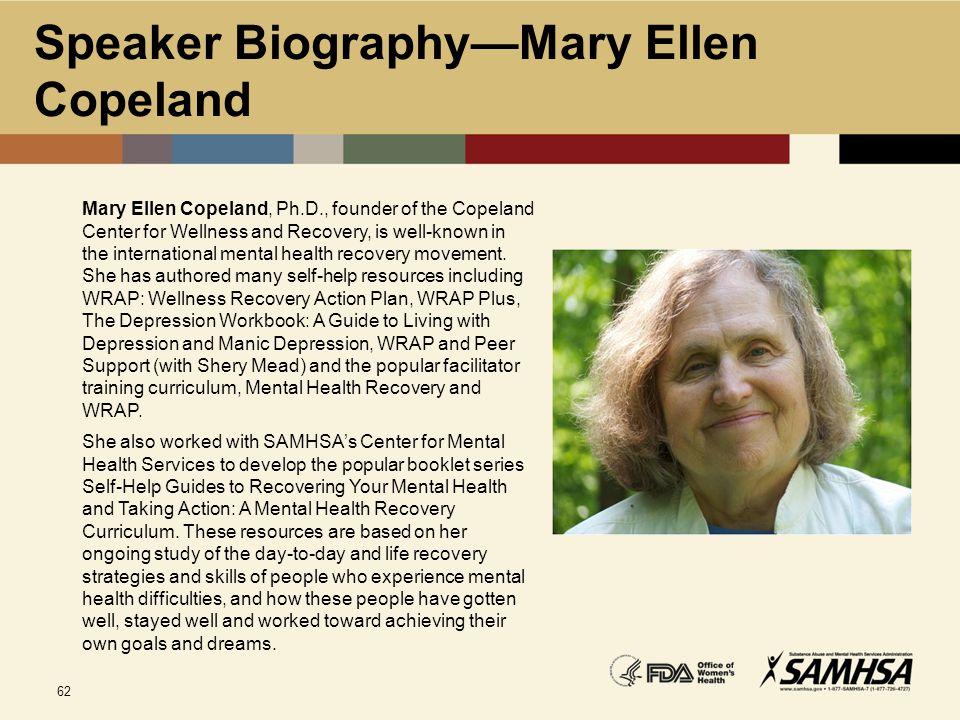 Speaker Biography—Mary Ellen Copeland