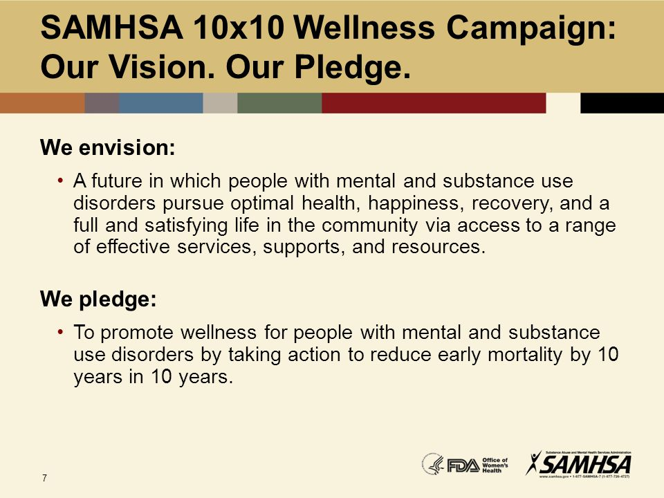 SAMHSA 10x10 Wellness Campaign: Our Vision. Our Pledge.