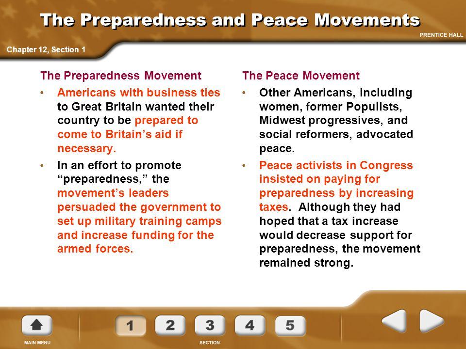 The Preparedness and Peace Movements