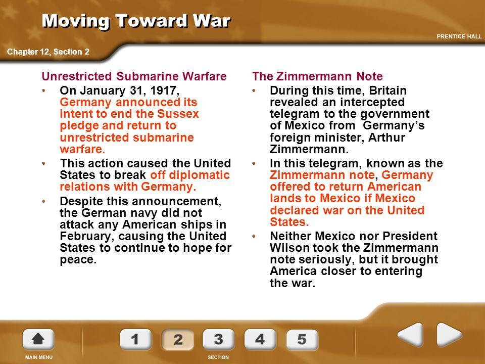 Moving Toward War Unrestricted Submarine Warfare
