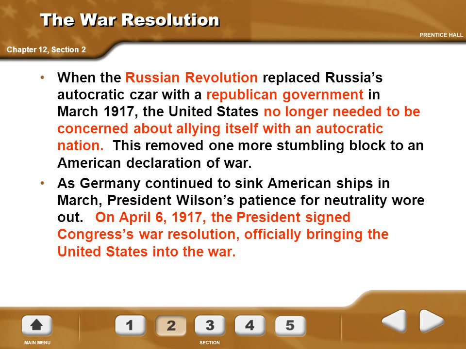 The War Resolution Chapter 12, Section 2.