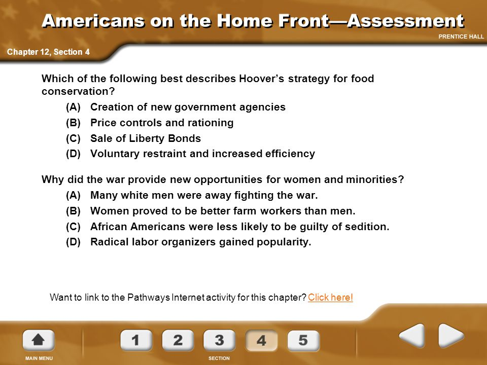 Americans on the Home Front—Assessment