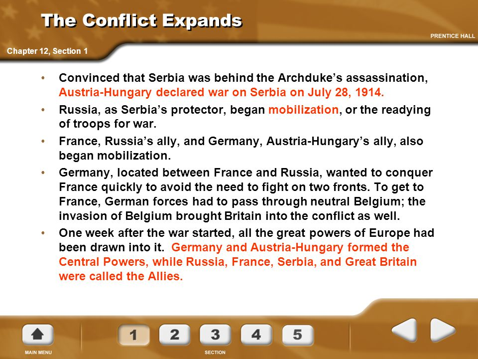 The Conflict Expands Chapter 12, Section 1.