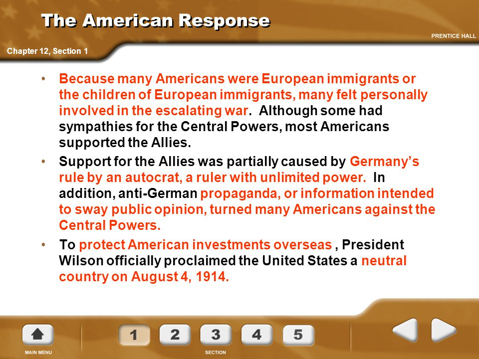 The American Response Chapter 12, Section 1.