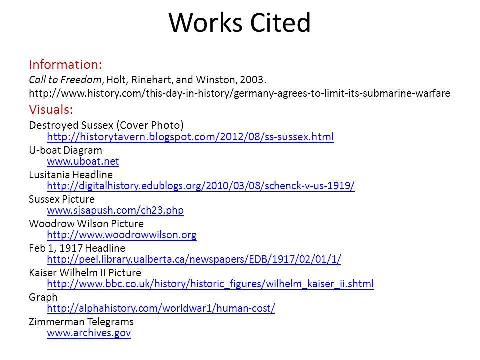 Works Cited Information: Visuals:
