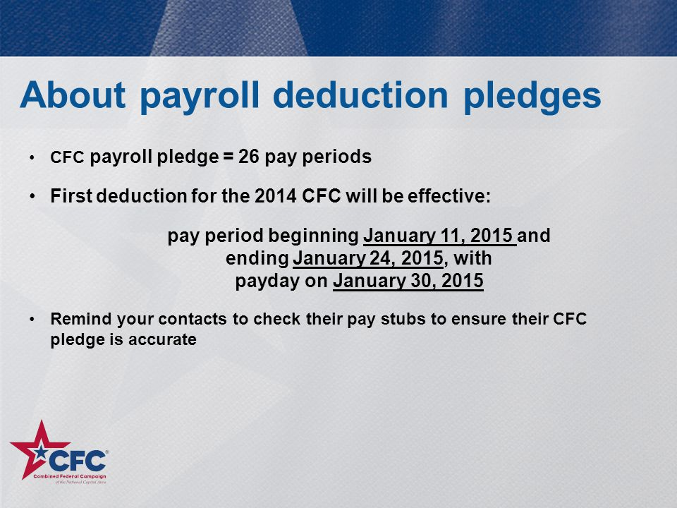 About payroll deduction pledges