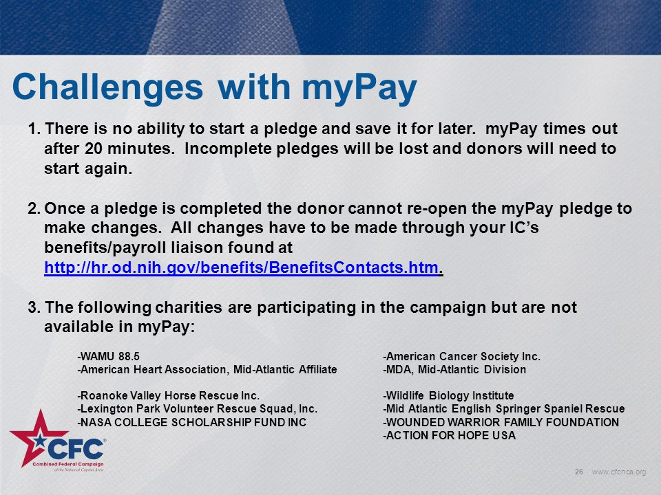Challenges with myPay