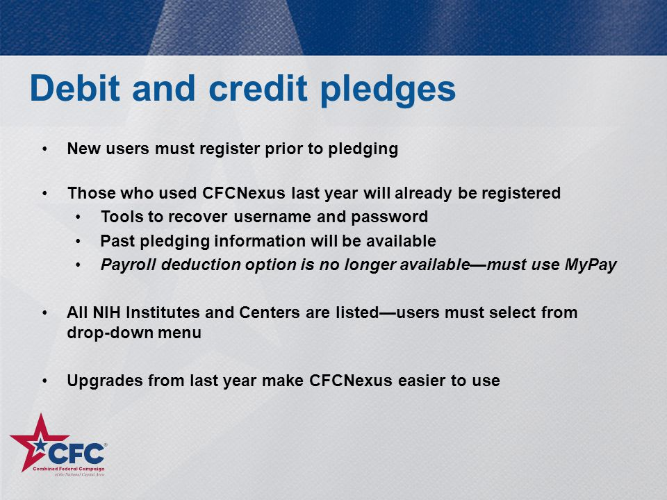 Debit and credit pledges