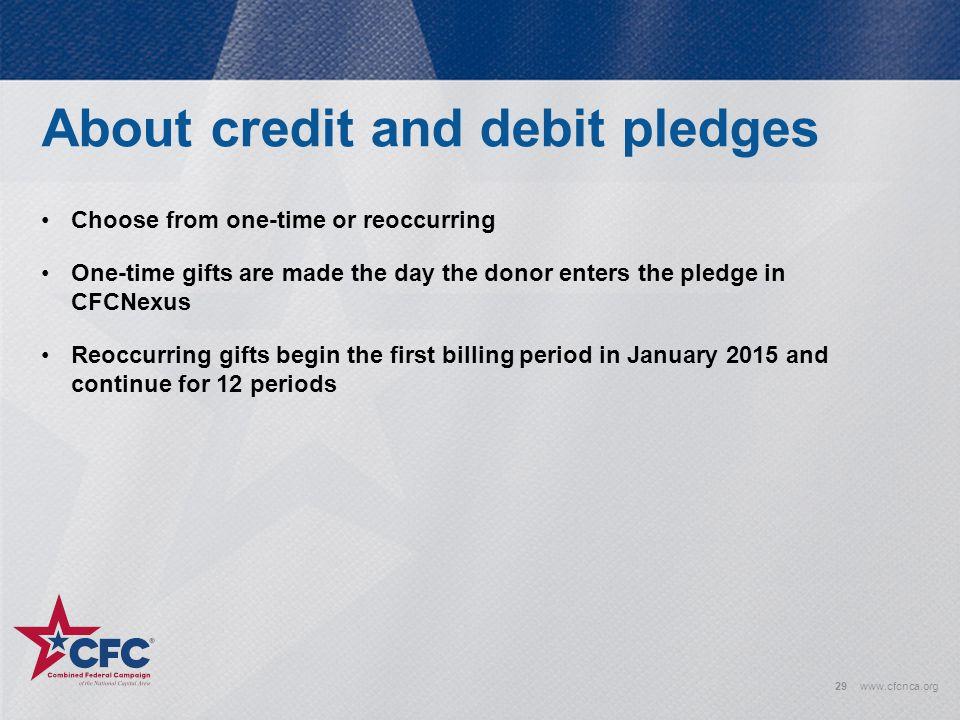 About credit and debit pledges