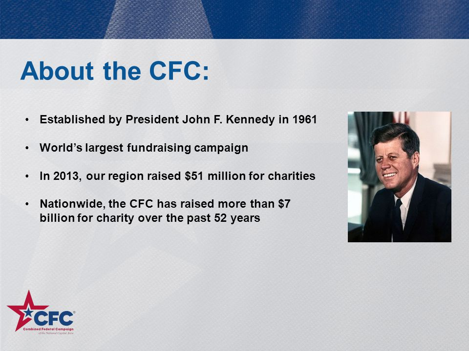 About the CFC: Established by President John F. Kennedy in 1961