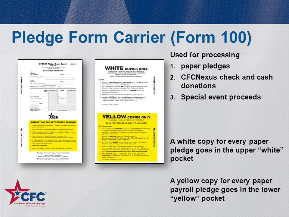 Pledge Form Carrier (Form 100)