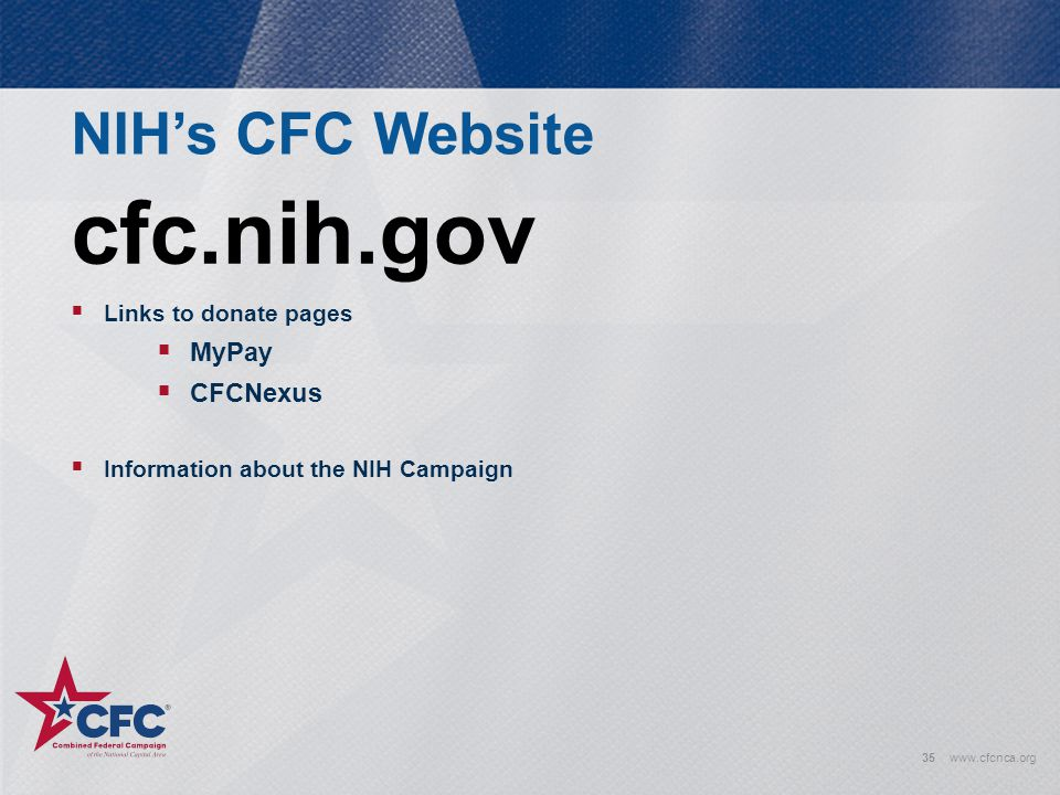 cfc.nih.gov NIH's CFC Website MyPay CFCNexus Links to donate pages