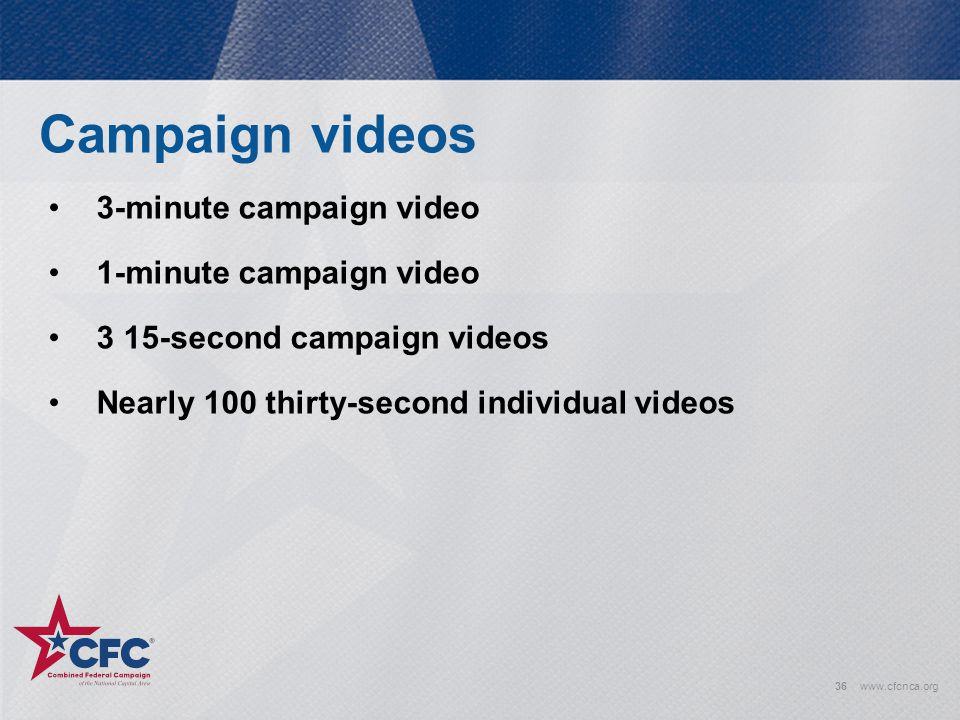 Campaign videos 3-minute campaign video 1-minute campaign video