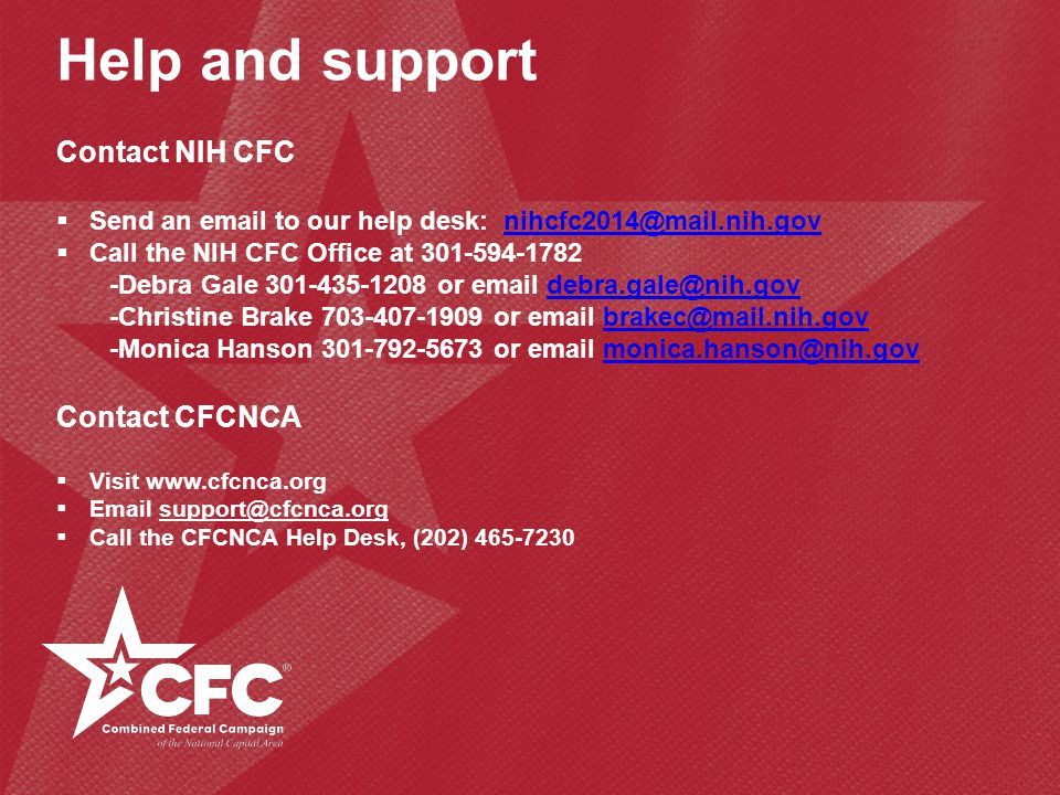Help and support Contact NIH CFC Contact CFCNCA