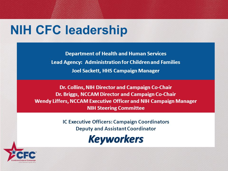 NIH CFC leadership Keyworkers Department of Health and Human Services