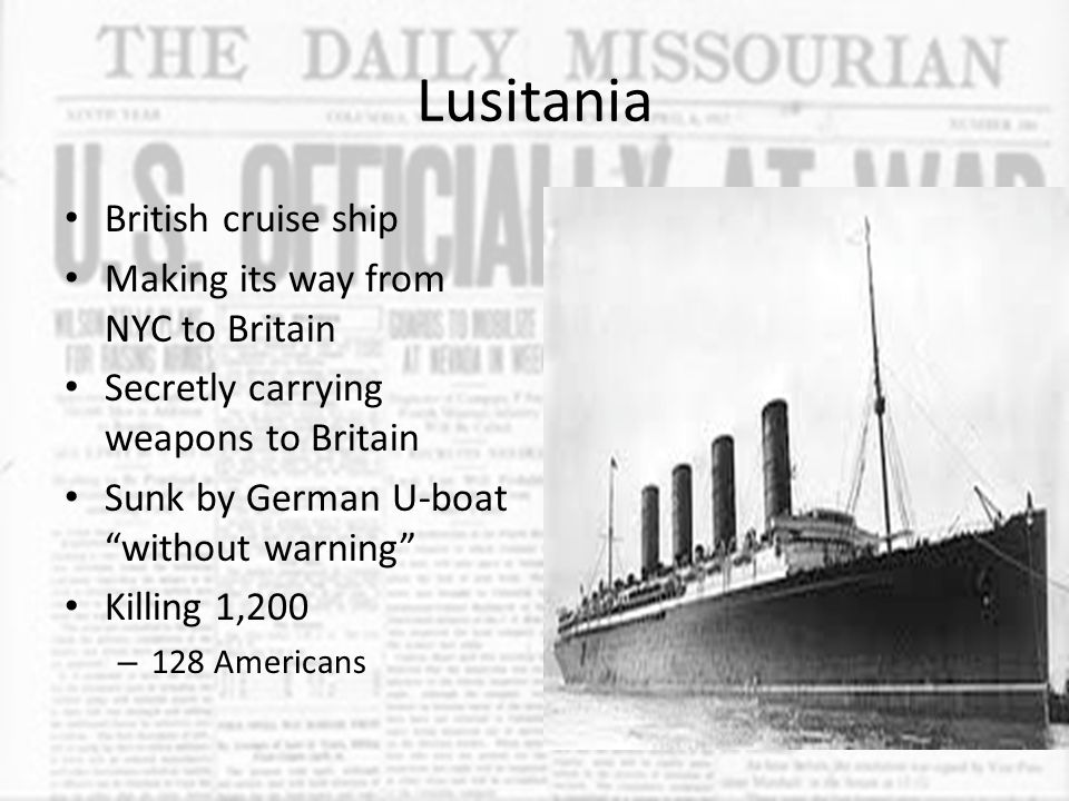Lusitania British cruise ship Making its way from NYC to Britain