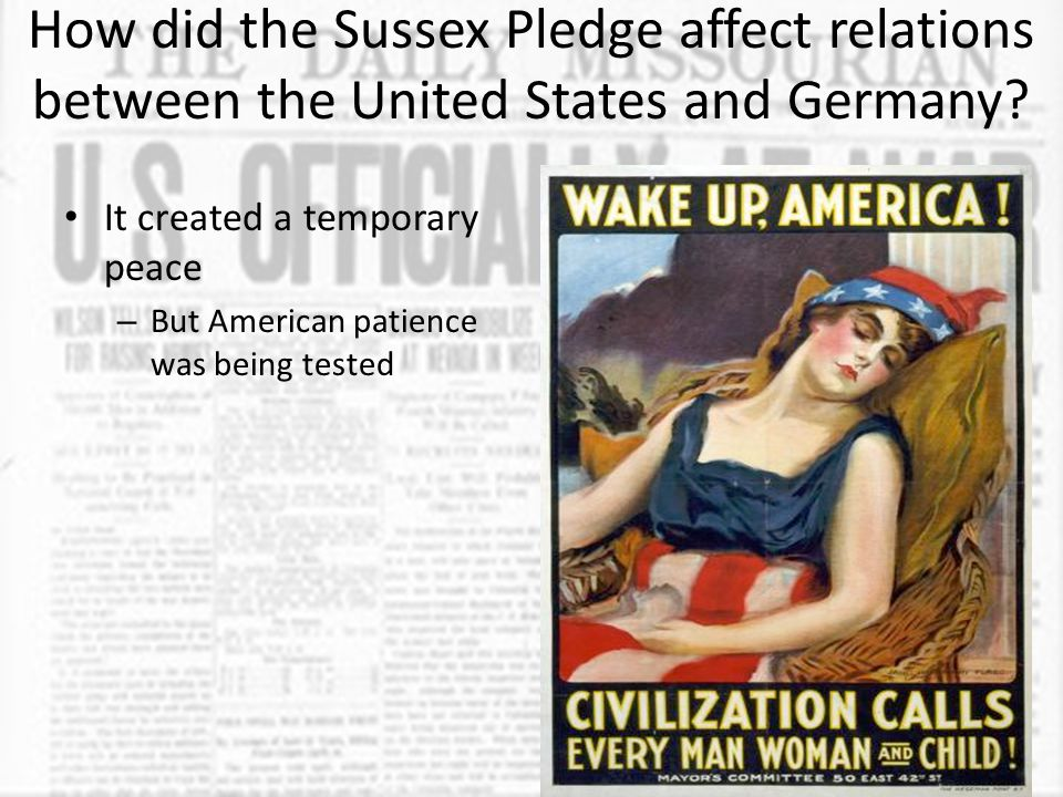 How did the Sussex Pledge affect relations between the United States and Germany