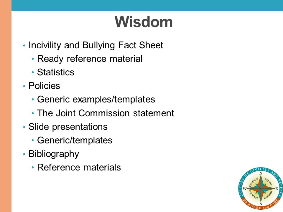 Wisdom Incivility and Bullying Fact Sheet Ready reference material