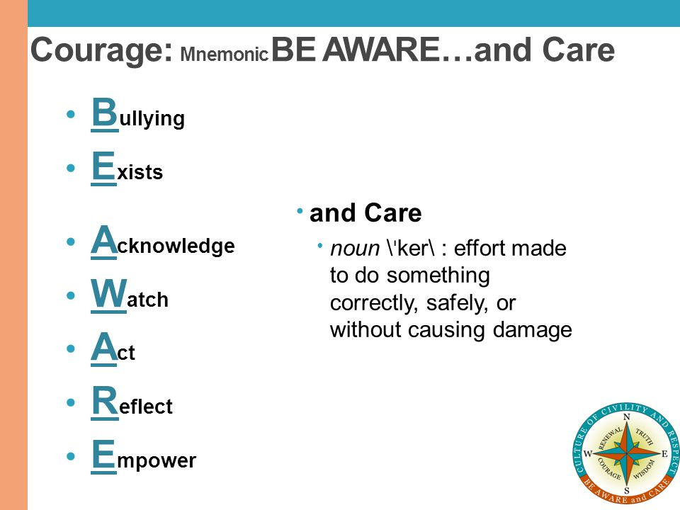 Courage: Mnemonic BE AWARE…and Care
