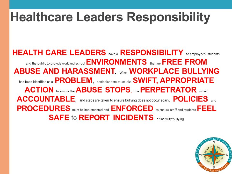 Healthcare Leaders Responsibility
