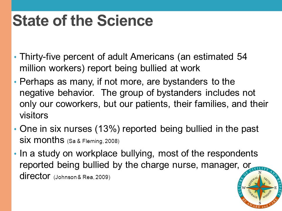 State of the Science Thirty-five percent of adult Americans (an estimated 54 million workers) report being bullied at work.