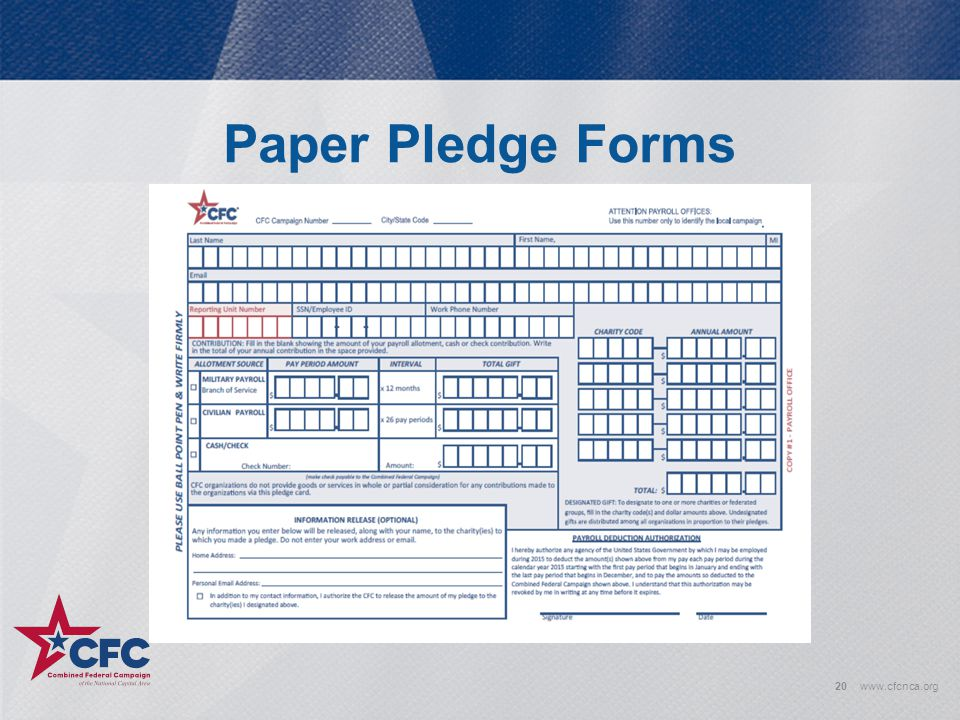 Paper Pledge Forms www.cfcnca.org