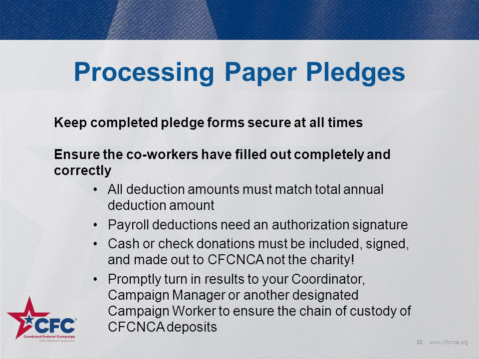 Processing Paper Pledges