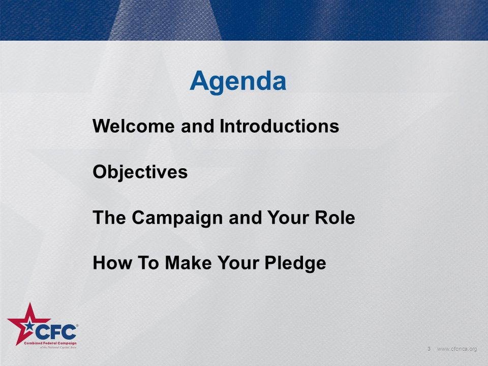 Agenda Welcome and Introductions Objectives The Campaign and Your Role