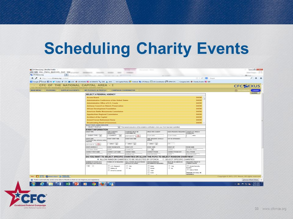 Scheduling Charity Events