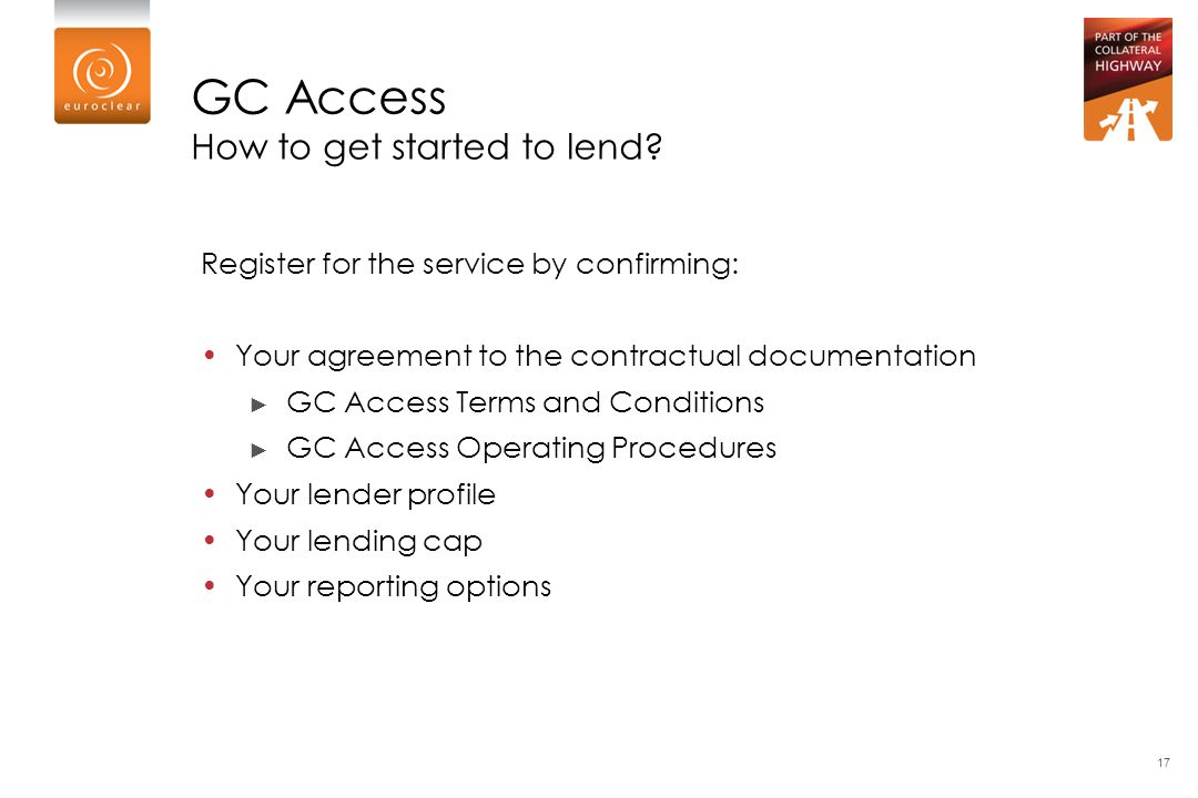 GC Access How to get started to lend