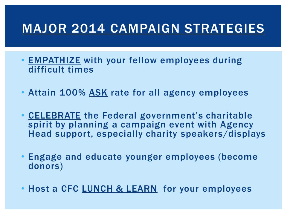MAJOR 2014 CAMPAIGN STRATEGIES