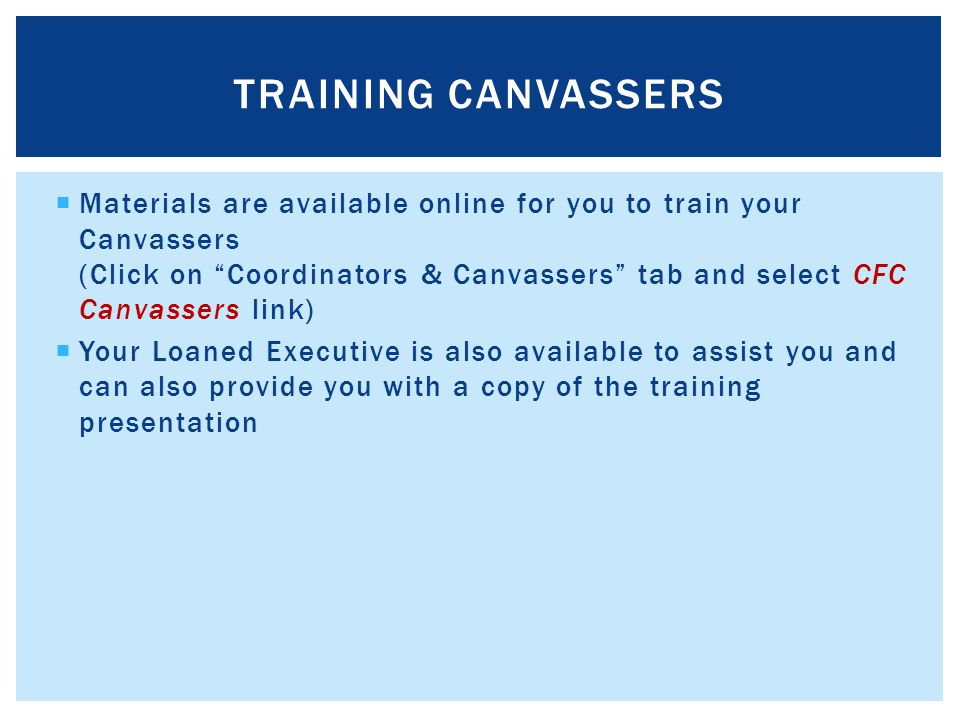 TRAINING Canvassers